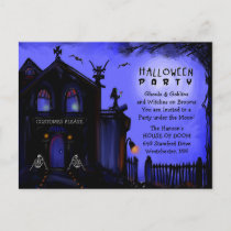 Postcard Invitation - Halloween Haunted House