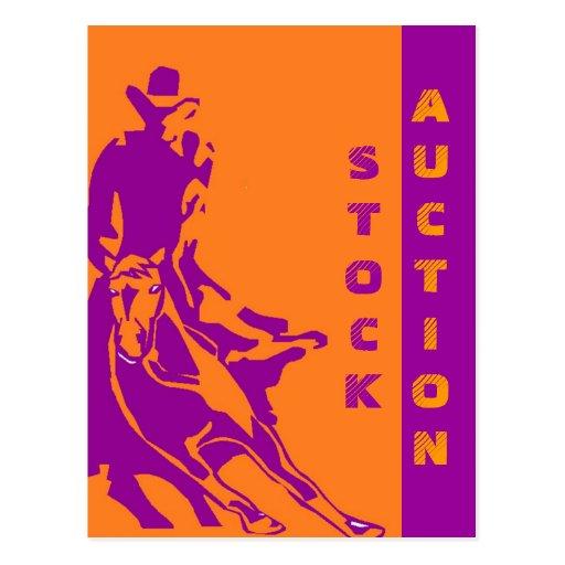POSTCARD INVITATION STOCK CUTTING HORSE AUCTION