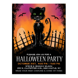 Postcard Invite - Black Halloween Cat in Graveyard