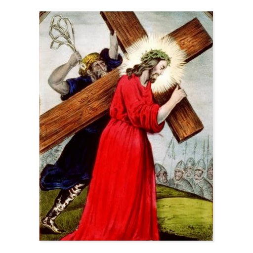 Postcard Jesus Bearing Cross