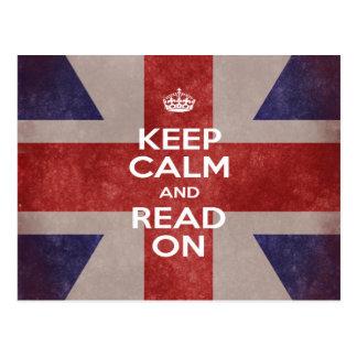Postcard - Keep Calm and Read On Union Jack