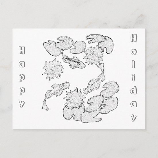 Postcard - Koi Pond to Color