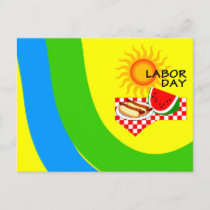 Postcard Labor Day Festive Picnic Invitations PC
