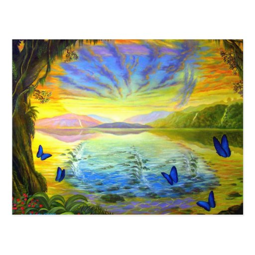 Postcard Landscape With Butterflies And River