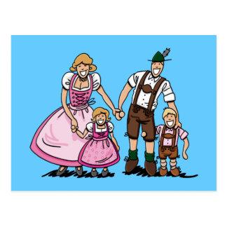 Postcard Lederhosen Dirndl Bavarian Family