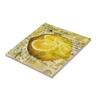 Postcard Lemons Ceramic Tile