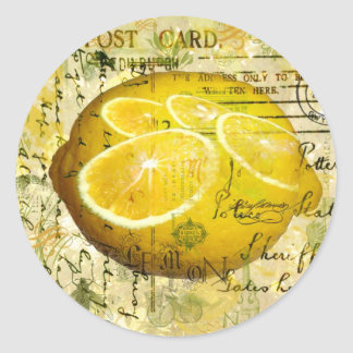 Postcard Lemons Classic Round Sticker
