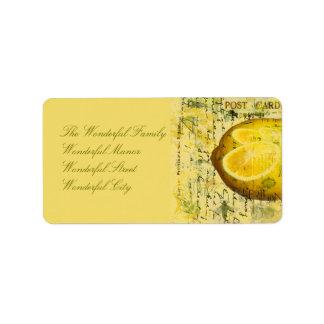Postcard Lemons Label