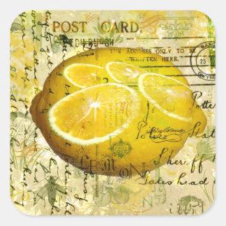 Postcard Lemons Square Sticker