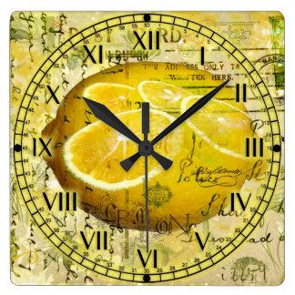 Postcard Lemons Square Wall Clock