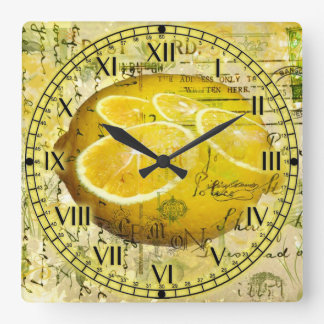 Postcard Lemons Square Wallclock