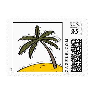 Postcard Lone Palm Tree Stamps