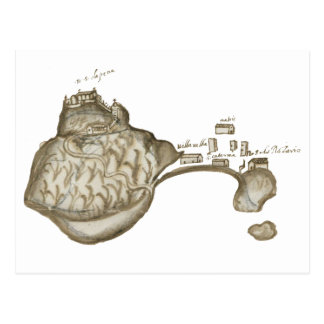 Postcard: Map of Old Village, here. 1608-1612 Postcard