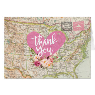 Postcard Map Travel Thank You Folded Note Card