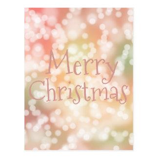 Postcard Merry Christmas pink bokeh sparkle lights