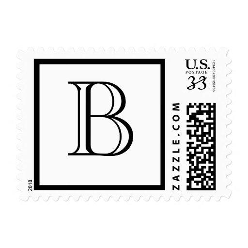 Postcard Monogram B Postage Stamp