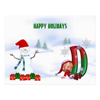 Postcard Monogram Christmas D