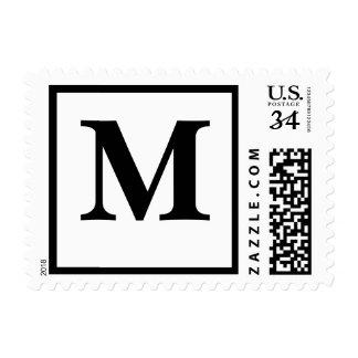 Postcard Monogram Letter M Save Date RSVP Invites Postage Stamp
