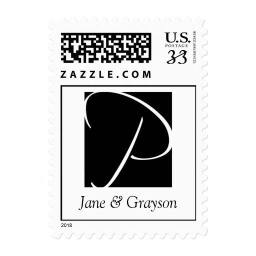Postcard Monogram P Black White Weddings Stamps