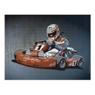 Postcard Motor Racing Go-Kart Driver