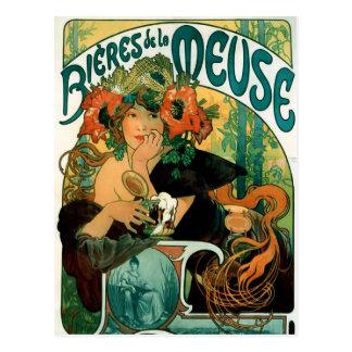 Postcard: Mucha - Bieres de la Meuse Postcard