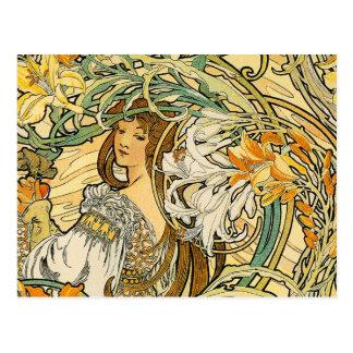 Postcard Mucha - Language of Flowers