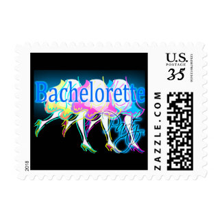 Postcard Neon Colors Bachelorette Party Invitation Stamp