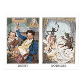 Postcard:  Night - Morning - Antique Caricature