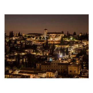 Postcard Night view from Alhambra de Granada Spain