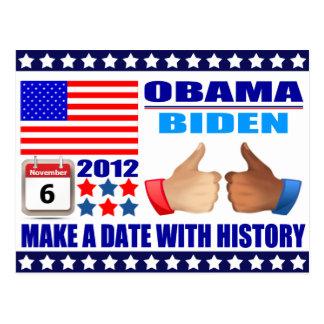Postcard: Obama/Biden - Flag - Date W/History