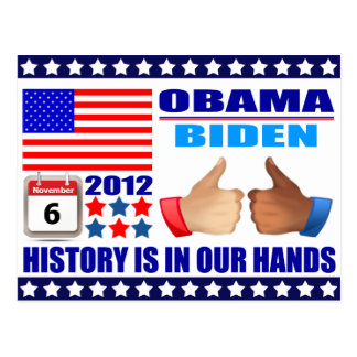 Postcard Obama Biden - Flag -In Our Hands