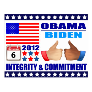Postcard Obama Biden - Flag -Integrity