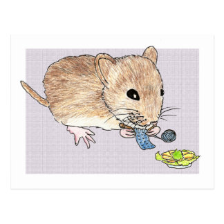 Postcard of a knitting brown mouse