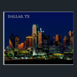 "Postcard of the Dallas, Texas skyline<br><div class=""desc"">Postcard of the Dallas,  Texas skyline taken at night.</div>"