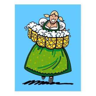 Postcard Oktoberfest Beer Waitress Green Dirndl