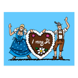 Postcard Oktoberfest Couple Gingerbread Heart