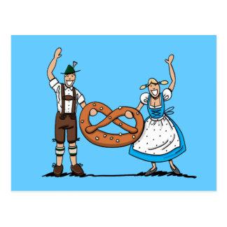 Postcard Oktoberfest Couple Pretzel