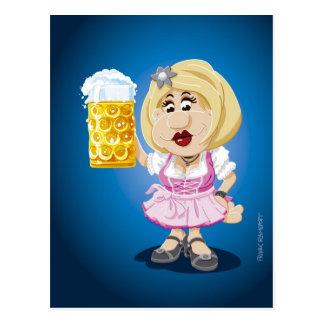 Postcard Oktoberfest Dirndl Woman Beer
