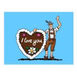 Postcard Oktoberfest Gingerbread Heart Lederhosen