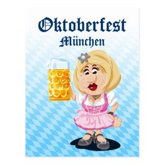 Postcard Oktoberfest Lederhosen Cartoon Woman Beer