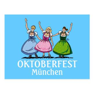 Postcard Oktoberfest München Beautiful Dirndl
