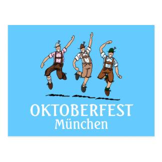 Postcard Oktoberfest München Dancing Lederhosen