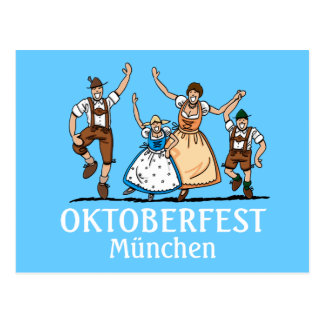 Postcard Oktoberfest München Happy Bavarian Family