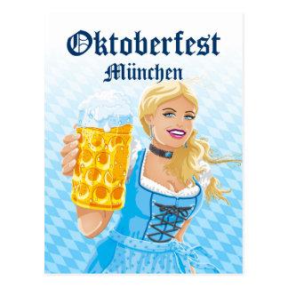 Postcard Oktoberfest Woman Dirndl Beer Stein
