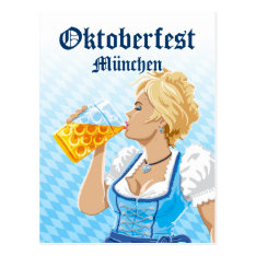 Postcard Oktoberfest Woman Dirndl Drinking Beer at Zazzle