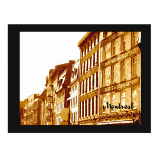 postcard Old Montreal sepia photo street scene