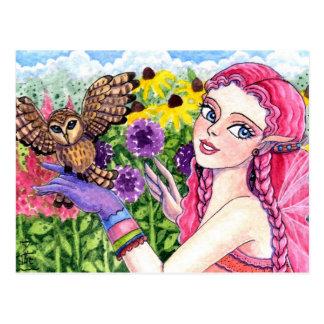 Postcard Owl Flower Fairy by Ann Howard