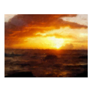 Postcard ~ Painting of Gorgeous Sunset over Ocean