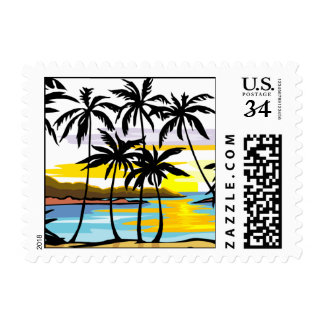 Postcard Palm Tree Beach Wedding RSVP Save Date Postage Stamp