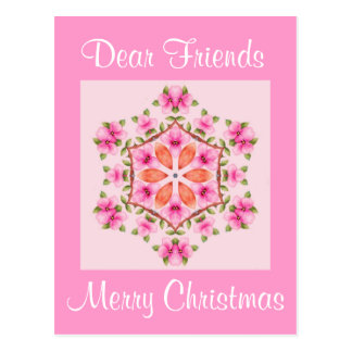 Postcard Pink and Orange Snowflake